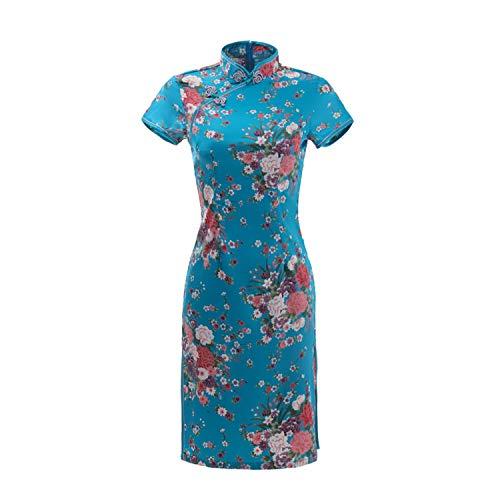 F-pump - Vestido chino sexy chino chino chino chino chino sexy con estampado de flores mini Qipao tradicional vestido casual para mujer cuello mandarín talla grande 6XL