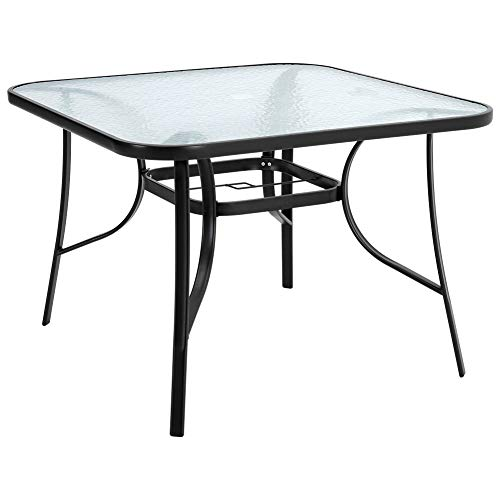 DKIEI Outdoor Square Dining Table Tempered Glass Top with Parasol Hole for Garden Patio Balcony Backyard Black,105 * 105 * 72cm