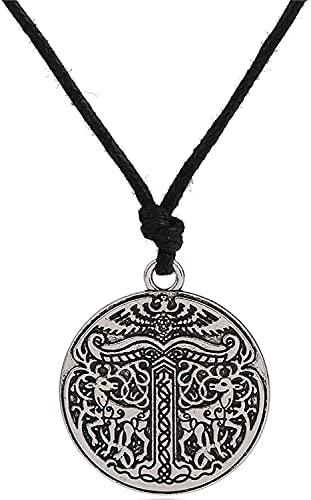 AMOZ Collar de Animales Vikingos Nórdicos, Joyería Colgante de Doble Cara para Hombres Y Mujeres