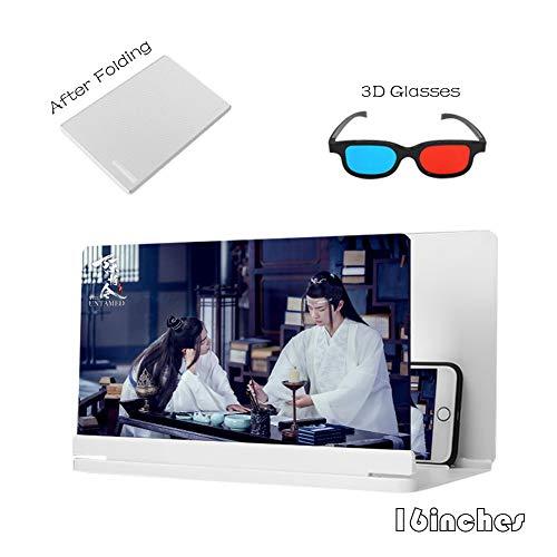 AZCSPFALB 16 Pulgadas Amplificador de Pantalla de Teléfono Móvil 3D HD Lupa Proyector De Películas Pantalla De Videojuegos Lupa Proyector Soporte de Escritorio de Madera(Negro/Blanco)