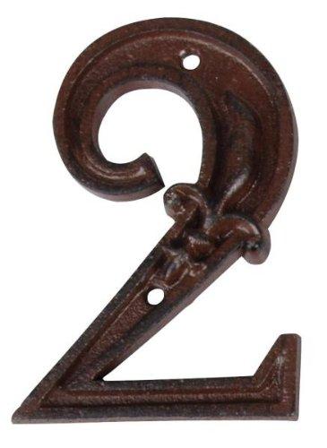 Esschert Design Hausnummer 2, mit Lilien Muster aus Gusseisen in antikbraun, patiniert, ca. 8 cm x 12 cm