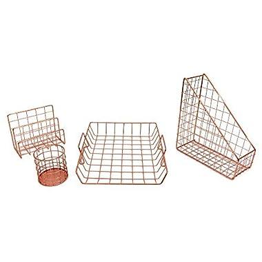 Blu Monaco Office Supplies Rose Gold Desk Accessories for Women - 4 Piece Wire Rose Gold Desk Organizer Set – Letter Sorter, Paper Tray, Pen Cup, Magazine File - Stationery Decor