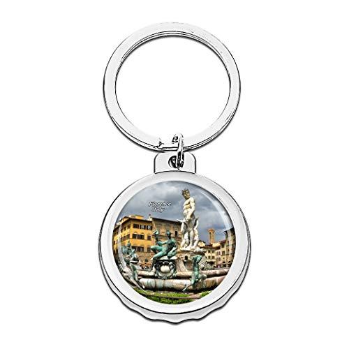 Hqiyaols Keychain Italien Piazza Della Signoria Brunnen Florenz Cap Flaschenöffner Schlüsselbund Creative Kristall Rostfreier Stahl Schlüsselbund Reisen Andenken
