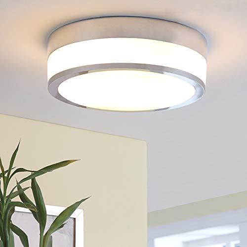 Lindby Deckenlampe 'Flavi' (spritzwassergeschützt) (Modern) in Weiß aus Glas u.a. für Badezimmer (2 flammig, E27, A+, inkl. Leuchtmittel) - Bad Deckenleuchte, Lampe, Badezimmerleuchte
