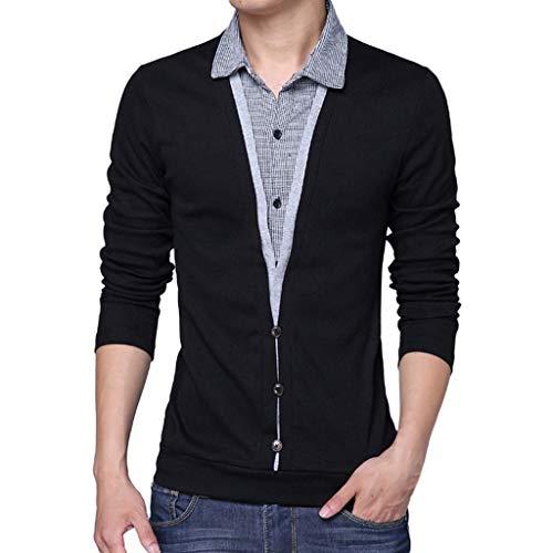 Camiseta de Dos Mangas con Falda de Solapa para Hombre Camisa de Fondo Top Manga Larga Suéter para Hombre con Cuello Camisa de Punto Sudadera Algodón riou