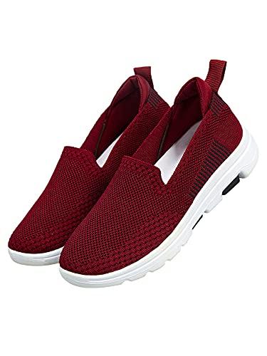 Mocasines para mujer, informales, para hacer deporte, para caminar, color Rojo, talla 41 EU