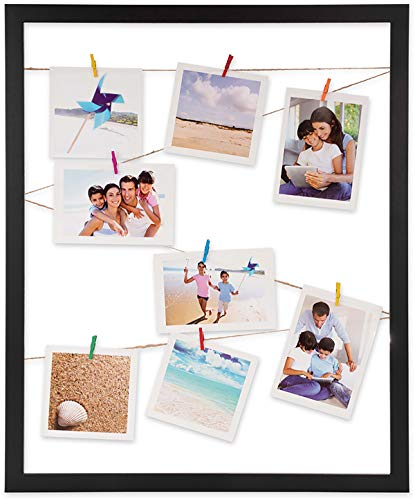 Victoria Collection Peg Photo Frame – Premium Wall Hanging String Picture Wooden Box with Clips – Beautiful Photo Display Box – Photo Frame for Hanging Pics – Artisan Designed Frame (Black, 40x50)