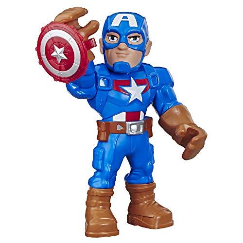 Hasbro Playskool Heroes - Captain America Marvel Super Hero Adventures Mega Mighties, action figure 25 cm da collezione, E7105