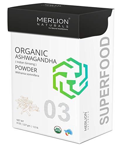 MERLION NATURALS Organic Ashwagandha Root Powder Withania Somnifera Indian Ginseng USDA Nop Certified (227 g)