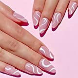 24 Pcs Glossy Press on Nails, Luvehandicraft Medium Stiletto Fake Nails, False Nails with Glue for Women and Girls (Glossy Pink Swirl 2)