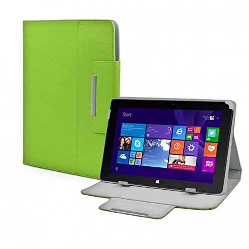 eFabrik Tasche für TrekStor Volks-Tablet SurfTab wintron 10.1 3G Volks-Tablet 3 Hülle Zubehör Schutzhülle mit Aufsteller Leder-Optik grün