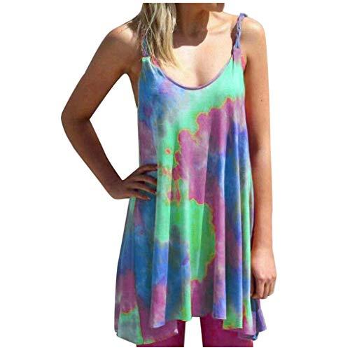 Fantastic Deal! Nihewoo Women's Sleeveless V Neck Tie Dye Tunic Tops Dress Summer Beach Floral Flare...