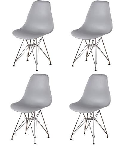 Esszimmerstühle, inspiriert von Eiffel mit DSR Kunststoff und Metallbeinen, Lounge-Büro-Möbel, leicht und langlebig, klassisches Design (grau:4)