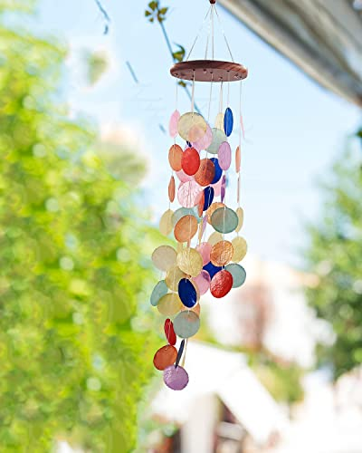 Capiz Shell Wind Chimes Outdoor, Outdoor Memorial Wind Chimes, Sympathy Wind Chimes Gifts for Patio, Garden, Yard Decoration