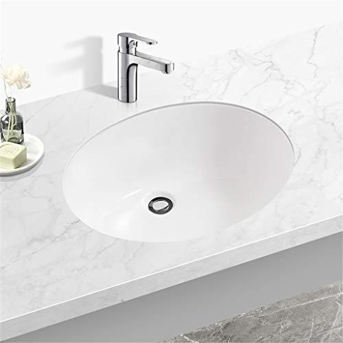Keramikspüle Im Bad, Rundes Unterbauwaschbecken Eingebettet, Spritzwassergeschütztes Waschbecken Mit Einem Einzigen Überlaufloch, Leicht Zu Reinigen