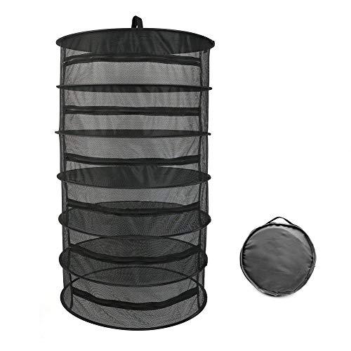 Funyu Trockennetz Klappbar Schwarz Trocknungsnetz 6 Schichten Aufhängen Trocken Netze 60 x 110 cm für Pullover, Obst, Gemüse, Fisch,Kräuter oder Pflanzen
