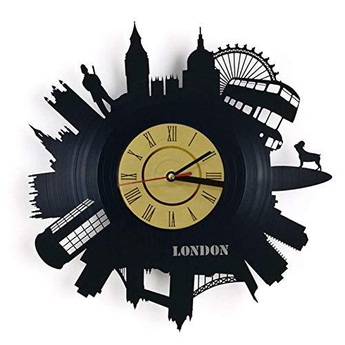 WADCRmgyx London gebäude Vintage Schallplatte Wanduhr Musik Zeit 3D Dekoration Uhren Handmade Home Decor