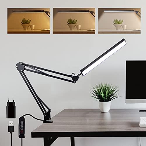 Bteng Lámpara de Escritorio LED, 14W Flexo Led Escritorio Con Abrazadera, Cuidado de Los Ojos Sin Parpadeo, Brazo Largo Giratorio Ajustable de 360 Grados Alimentación Por USB, Negro