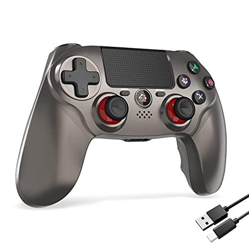PS4コントローラー 600mAh FPS改良 Bluetooth5.0 HD振動 ゲームパット搭載 高耐久ボタン イヤホンジャック スピーカー PS4 コントローラー (Mimall 灰)