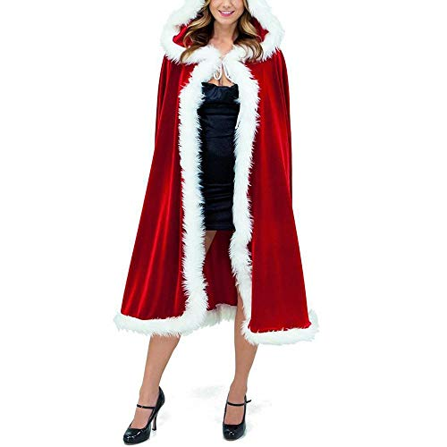 Santa Claus Cloak Christmas Hooded Cape 100cm Christmas Cloak Red Fancy Dress Party Robe with Hat Ladies Cosplay Costume White Santa Xmas Costume for Kids Adults …