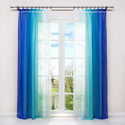HongYa 2er-Pack Farbverlauf Gardinen Transparenter Voile Vorhänge Schals mit Kräuselband H/B 175/140 cm Blau