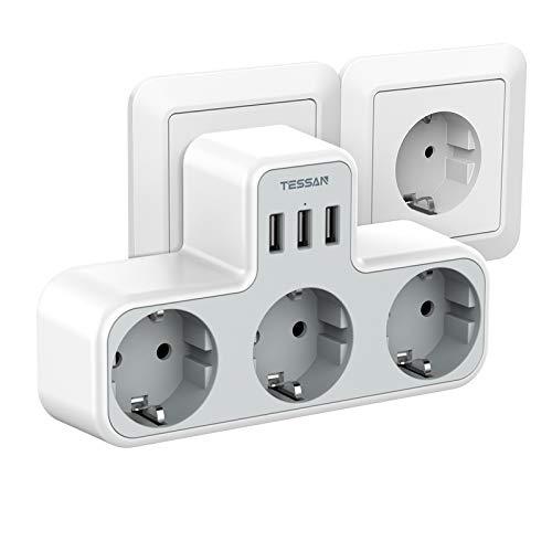 TESSAN USB Steckdose, 3 Steckdosen mit 3 USB Anschluss, 6 in 1 Steckdosenadapter mit USB Ladegerät, Doppelstecker mit USB Stecker, Mehrfachsteckdosen Kompatibel für Phone Laptop, für Zuhause, Weiß