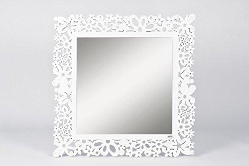 CVC- Specchio da parete, cornice bianca, dettaglio fiori rintagliati. Primavera dimensione 80x80 cm. Made in Italy