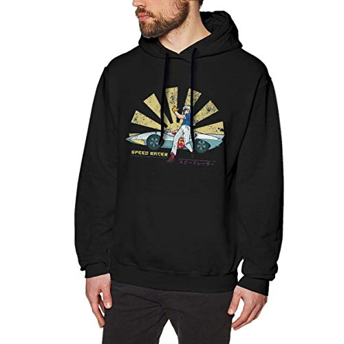 AprilMCohen Speed Racer Retro Japanese Mens Pullover Hoodies Crewneck Long Sleeve Sweatshirt Black,Black,XXX-Large