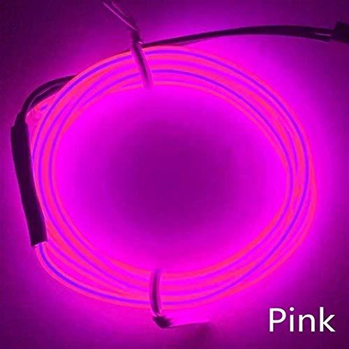 5M luz de neón de costura Edge Dance Party EL cable Decoración luces de neón del coche de la lámpara flexible tubo de la cuerda tira de la decoración Automotriz Decorativa ( Emitting Color : Pink )