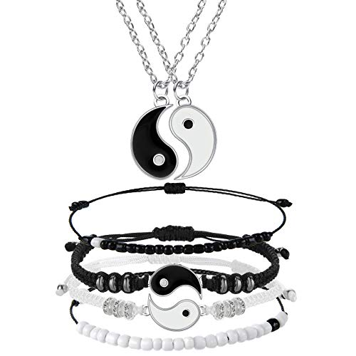 6 Pieces Matching Yin Yang Friend Couple Bracelets with Necklace Set, Adjustable Waterproof Handmade Cord Relationship Bracelets for Friendship Relationship Boyfriend Girlfriend (Simple Style)