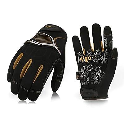 Vgo 3Pairs High Dexterity Mechanic Glove,Rigger Glove,Anti-abrasion,Touchscreen(Black,SL8851)