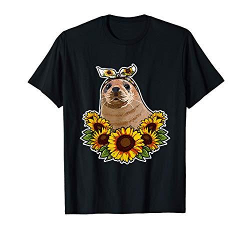 Foca Regalo Decoración De Girasoles Focas Camiseta