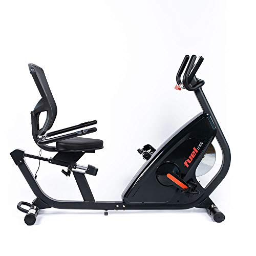 Fuel Fitness LE100 Liegeergometer, Fahrradtrainer mit Rückenlehne für zuhause, Nutzergewicht bis 130kg, 7kg-Schwungrad, 12 Trainingsprogramme, KINOMAP-kompatibel