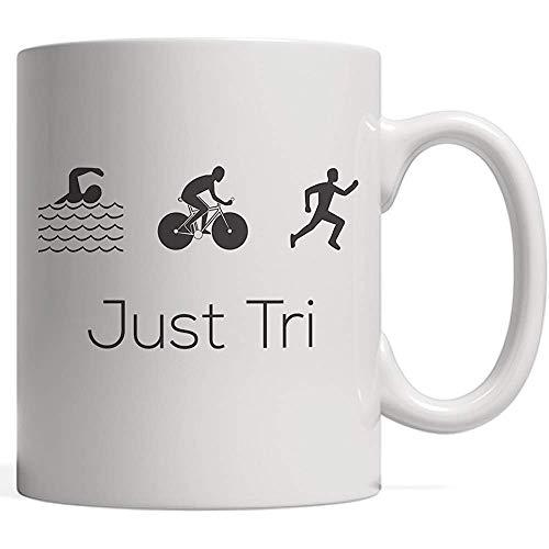 ¡Taza divertida de triatlón Just Tri It para triatletas que aman nadar en bicicleta y correr en entrenamiento o competencia por la medalla de oro!