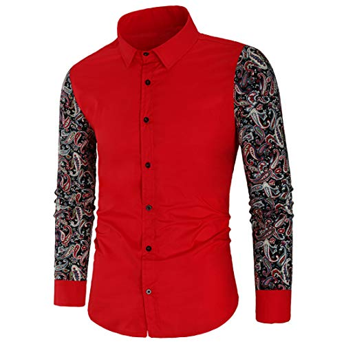 ZCZH Herren Hemd Herren Hemden Floral Lace Langarm Classic Sexy Hollow Out V-Ausschnitt mit Knöpfen Atmungsaktive Oberteile Casual 2020 Herbst und Winter Neue Hemden Oberteile 3XL