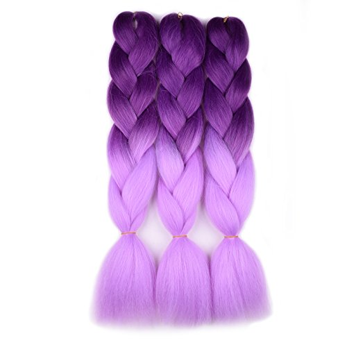 Jumbo Braiding Hair (Purple/Light Purple) 3pcs Ombre Braiding Hair Extension For Braids Twist 24 Inch 100G Hot Water Seal Soft