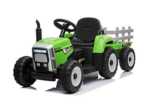 RIRICAR Elektrischer Traktor Workers mit Anhänger, Grün, Hinterradantrieb, 12-V-Batterie, Rädern, breitem Sitz, 2,4-GHz-Fernbedienung, MP3-Player mit Bluetooth und SD-Eingang, LED-Leuchten