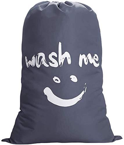 Cleano Wash Me – Sac à linge noir, grand sac à vêtements, sac de voyage, env. 120 l, 60 cm (l) x 90 cm (h) ), sac en tissu, sac de rangement, sac à linge, sac de rangement avec cordon de serrage