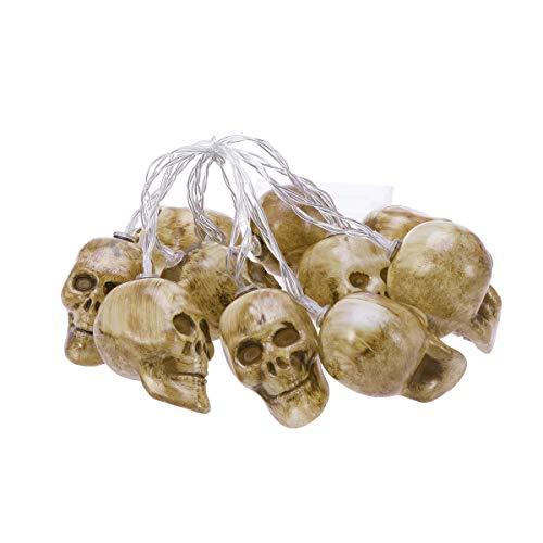 AMOSFUN Luces colgantes de cráneo de Halloween LED batería Power String luces para fiesta al aire libre decoración de jardín interior