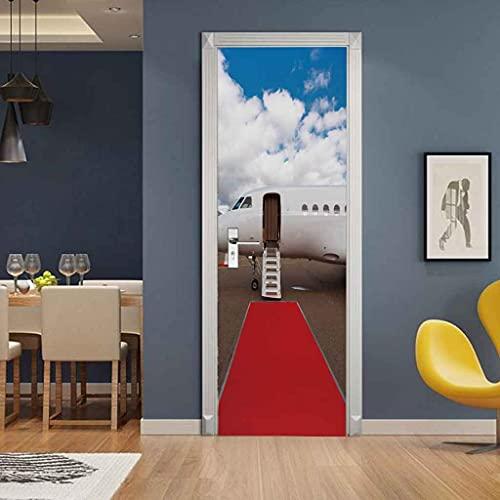 NXCNTD 3D Etiqueta De La Puerta Alfombra roja del aeropuerto Impermeable Extraíble Bricolaje Pintura Mural Murales Autoadhesivos Papel Tapiz Interiores Puerta Del Dormitorio Decoracion 77x200cm
