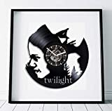 Kovides Bella and Edward Art Twilight Art Film Clock Birthday Gift for Girl Wall Clock Large Twilight Lp Retro Vinyl Record Wall Clock Modern Twilight Gift Handmade Gift Movie Art Wall Clock Vintage