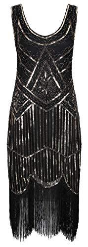 Ro Rox Vestido de 1920 Great Gatsby Vintage Flapper - Negro & Oro (42)