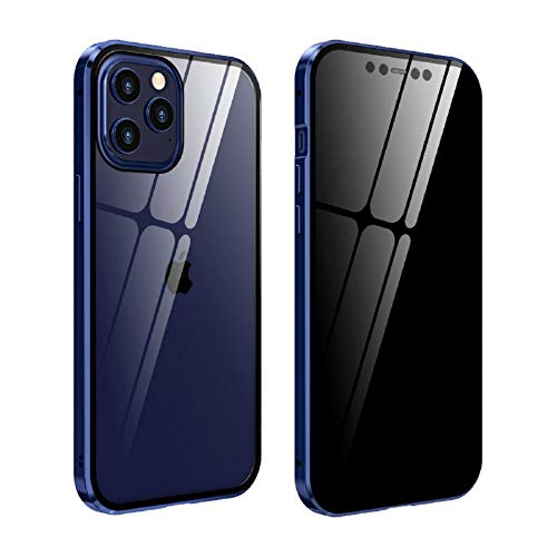 Behy Luxury 360 Degree Full Cover Tempered Clear Glass Protector Magnetic Adsorption Metal Bumper Phone Case for Apple/iPhone 12 Pro and Apple/iPhone 12 (Navy)