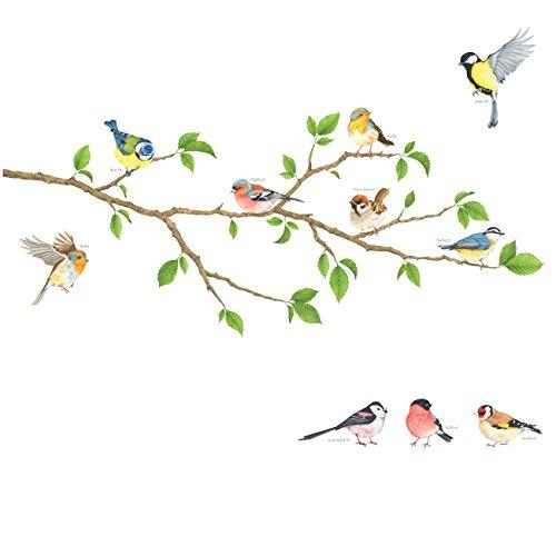 DECOWALL DA-1804 Garten Vögel auf Ast Wandtattoo Wandsticker Wandaufkleber Wanddeko für Wohnzimmer Schlafzimmer Kinderzimmer