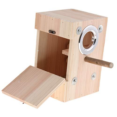 KESOTO Holz Nistkasten Nistplatz Vogelhaus Nisthaus mit Holzstange für Vogel Papagei Wellensittich Nymphensittich Sittich