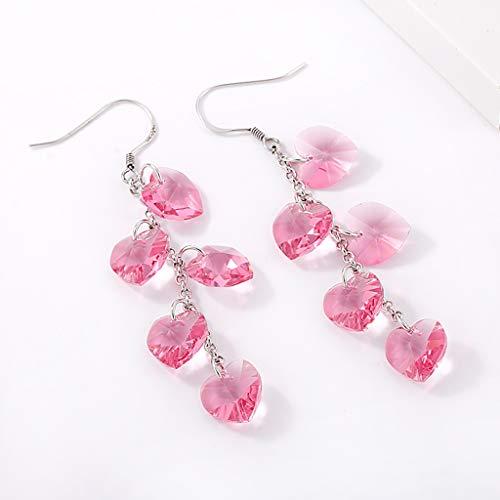 Byrhgood Pendientes Largos de Cristal Rojo Rosa Pendientes de Amor Pendientes de Moda Japonesa y Coreana 6.7 * 1.0 cm