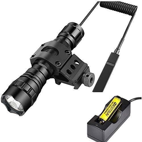 BESTSUN táctica linterna XM-L2 LED 1200 lm 1 modo 3 - 18 V lámpara de caza con interruptor de presión y 45 grados Mount Picatinny Rail Desplazamiento lateral para anillo (18650 batería incluido)