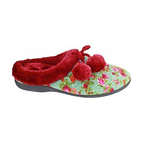 Mirak Ladies Chabilis Textile Fuzzy Faux Fur Collar Slipper Red