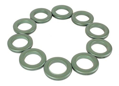 Rufflette 36 x Jupiter Rings for Eyelet Curtains - Leaf Green NEW