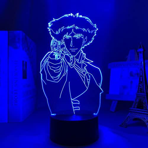 Luz Led de Anime Cowboy Bebop Spike para decoración de dormitorio Luz de noche Niños Regalo de cumpleaños para niños Manga Cowboy Bebop Lámpara 3d Mesita de noche